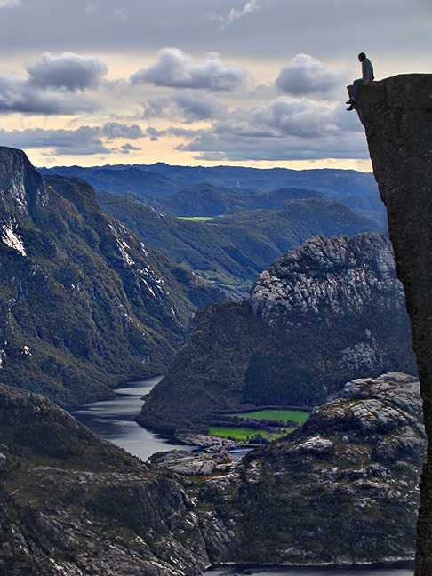 Ron Brinkmann (me).  On the edge.  In Norway.  Yes, it was scary.